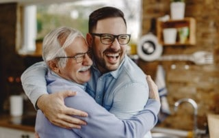Father and son hugging and showing love on father's day